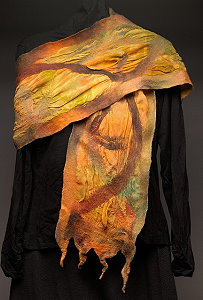 Nunofelted Scarf - hand dyed silk chiffon and hand dyed Merino wool